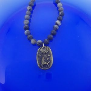 Mens / Unisex Black Howling Wolf Necklace